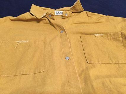 芥末黃七分袖襯衫
