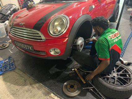 Mini Cooper rotor and brake pad change
