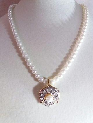 6mm round glass pearl necklace with enhancer pendant