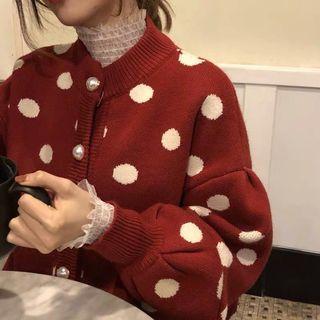 🚚 紅底白點毛衣外套