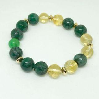 🚚 Emerald crystal bead 11mm, Citrine 10mm with Chrysoprase crystal beads bracelet. Brings good relationship, good financial luck and happiness