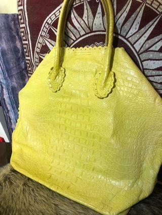 FURLA Neon Yellow Green Crocodile Emboss Bag