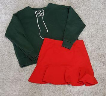 Abbie set    Forest green lace up drop shoulder oversized pullover and Red ruffled flounce hem zip up mini skirt