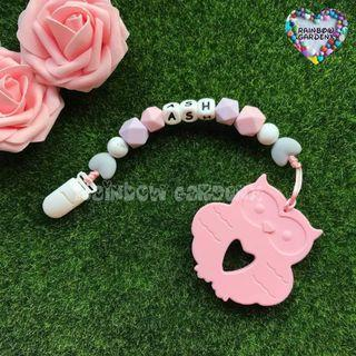Handmade Pacifier Clip with customised name letter beads + Pastel Pink owl Teether