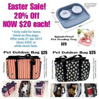 20% OFF PET CARRIERS & FEEDING TRAYS