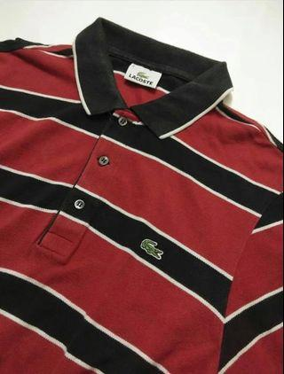 Polo Shirt Lacoste Burgundy Striped Original