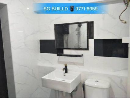 🚚 Overlay Toilet 🎉PROMOTION🎉 Overlay Floor + Overlay Wall + Floor water proofing system + Basin +'Toilet Bowl + Tiles + Piping