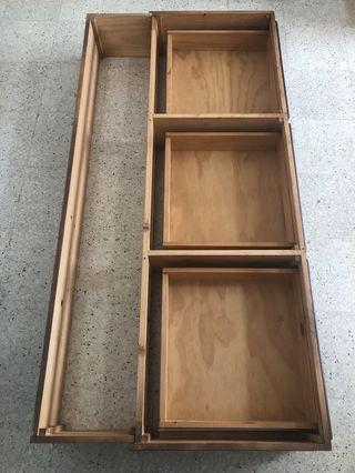 Wooden bed frame with drawers