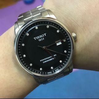 95%NEW tissot powermatic 80 chronometer 全原裝 全自動快跳日曆瑞士機芯 水晶玻璃 41mm錶面 淨錶 $2980