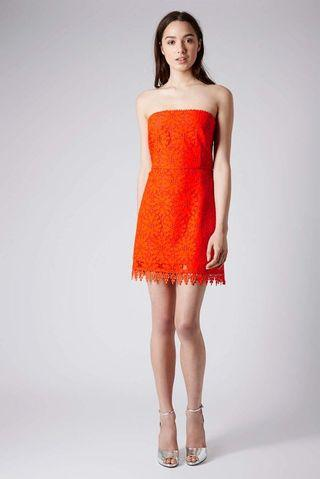 Topshop crochet orange dress tube lace hemming