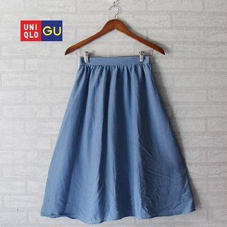 GU Uniqlo Blue Chiffon Skirt
