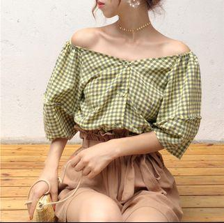 Korean off shoulder lattice top : korea style brand new women fashion 2019 ulzzang plaid checkered gingham v collar neck button buckle single row loose cold shoulder ruffled frill bubble puff lantern sleeve short sleeved loose crop blouse