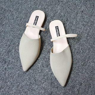 韓國風格彈性布質尖頭平底穆勒包鞋