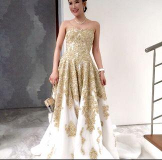 Gold wedding dress evening gown formal d&d long train