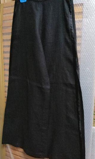 Biasa linen wide leg trousers with side satin piping and split till knee