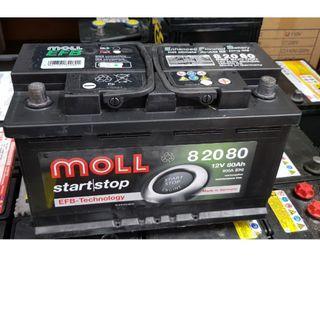 (二手中古電池) MOLL 82020 EFB 起停車專用 免保養汽車電池 數值漂亮,品項優 同58014 歐系車專用