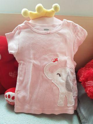 Elephant patch baby top