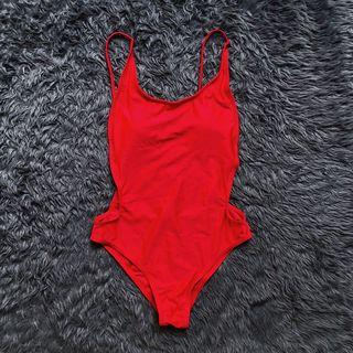Red Backless Swimsuit