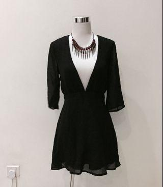 Kimono flared sleeve black dress chiffon