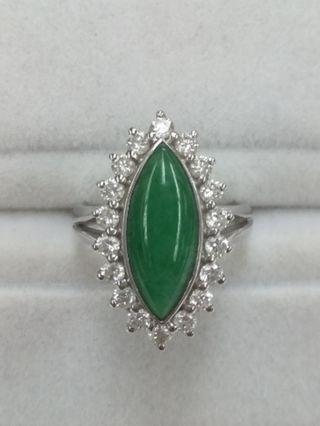 18K White Gold Burmese Jade with Diamonds Ring