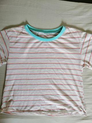 Rainbow stripes shirt oversized crop top