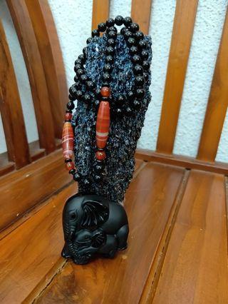 Genuine black obsidian necklace