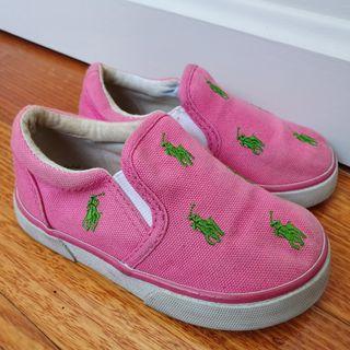 RALPH LAUREN Pink Sand Shoes Girls Sz 7 in GUC