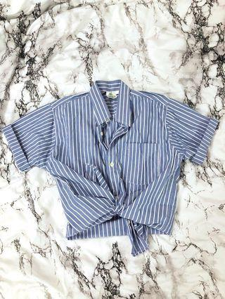 Crop Ribbon Button Up