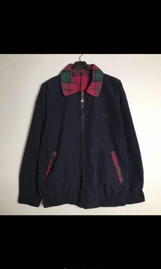 古著深藍格紋外套