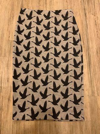 H&M Bird Print Pencil Skirt