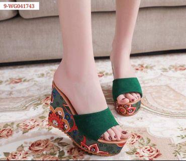 Colorful Korean fashion high wedge sandals