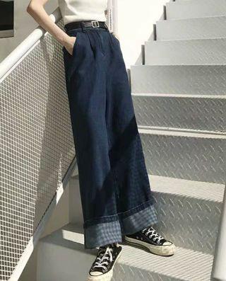 牛仔高腰寬褲