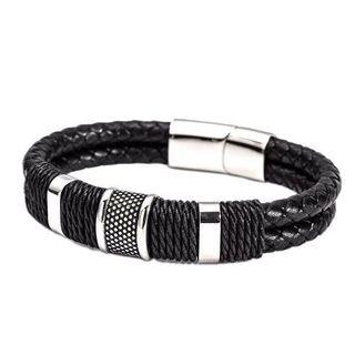 Men's Simple Style Wide Braided Leather Bracelets -316L Stainless Steel