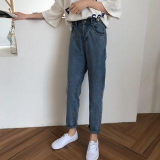 Ulzzang cropped jeans, Korean style harajuku jeans, cropped korean new trend jeans.