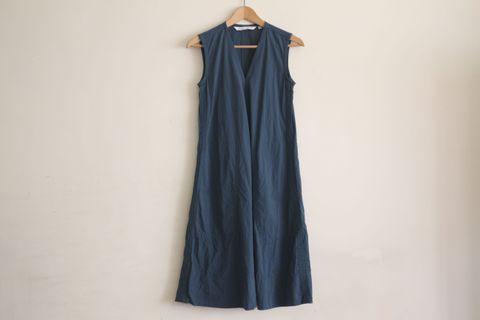 洋裝|UNIQLO and LEMAIRE 泡泡紗 藍綠色 長洋裝 無袖