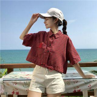 PO 994 Adjustable Strap Checkered Square Mini Grid Pattern Short Sleeve Button Collar Crop Top Shirt Blouse Ulzzang