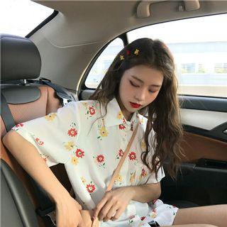 PO 991 Red / Yellow Floral Leaf Mini Pattern Group of Flower Print Short Sleeve Button Collar Shirt Blouse Ulzzang 2 Colours