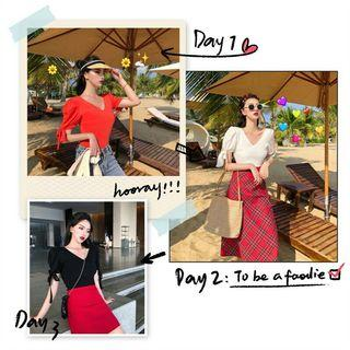 PO 992 V Neck Ribbon Tie Strap Short Sleeve Shirt Top Fitted Summer Ulzzang 3 Colours