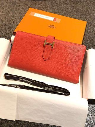 Hermes Bearn Wallet Epsom Color Rose Jaipur 金扣