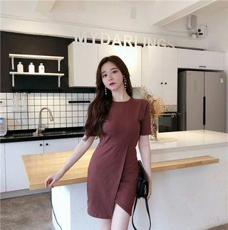 PO 993 Maroon Brown / Black Short Sleeve Side Slit T-Shirt Bandage Dress 2 Colour Ulzzang