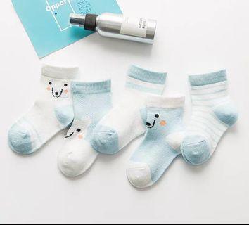 藍色小熊款兒童春夏薄款短襪5對