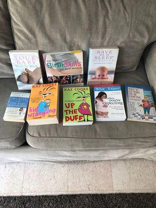 Various pregnancy and baby books