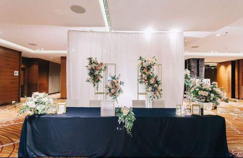 Wedding reception decoration with florals and backdrop