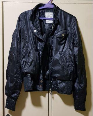 Black windbreaker looks like leather bomber jacket