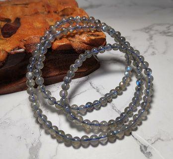 天然灰藍光月光石三圈手鏈4.5+