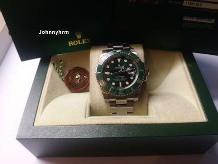 Rolex 116610lv Submariner 綠面亂碼有卡