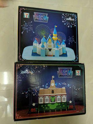 全新未開封 7-11 些粉限量換購品 原價$400兩盒Disney land 迪士尼 Light Parade 小鎮大街火車站及閃亮城堡