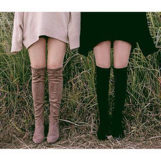 降價🔥黑色麂皮過膝靴 膝上靴