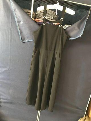 MANGO 吊帶連身長褲 七分