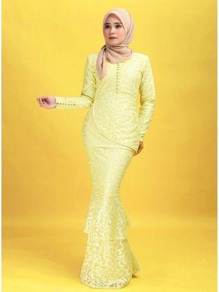 New Zefiks Bushra Kurung in Yellow with tags- Size M